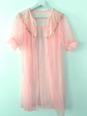 Bubblegum Pink Sheer Housecoat