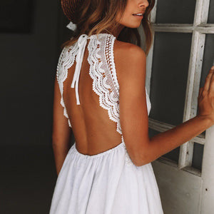 Backless Crochet Mini Dress