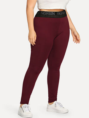Plus Size Panel Leggings with Lettered Waist Band