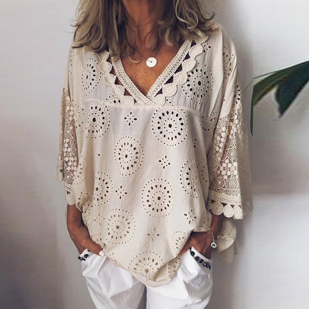Women blouse Hollow Out  Lace
