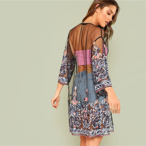 Floral Embroidered Mesh Kimono 3/4 Long Sleeve