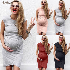 Solid Color Midi Maternity Dress