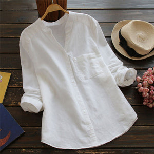 Women's Loose Solid Long Sleeve Button-up