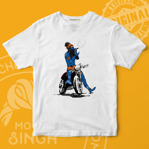 BHOLE BABA ON ROYAL ENFIELD BULLET PRINTED ROUND NECK T-SHIRT BY HOUSE OF MOOCHSINGH.COM