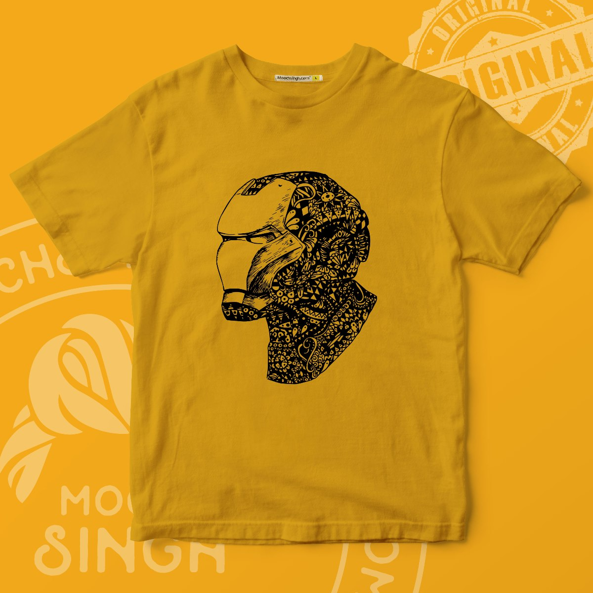 MUSTARD MARVEL'S SUPERHERO IRON MAN PRINTED ROUND NECK T-SHIRT BY HOUSE OF MOOCHSINGH.COM