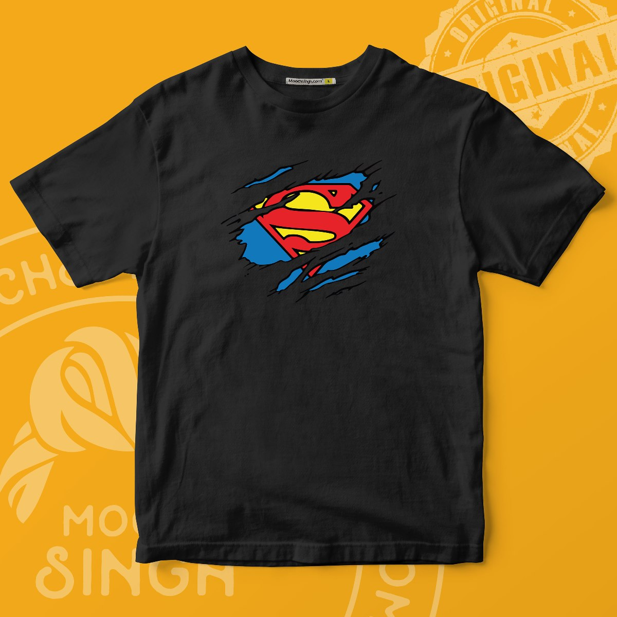 DC COMICS SUPERHERO SUPERMAN RIPPED CHEST LOGO PRINTED RED ROUND NECK T-SHIRT BY HOUSE OF MOOCHSINGH.COM