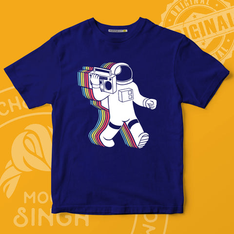 Astronaut With Radio Printed T-Shirt