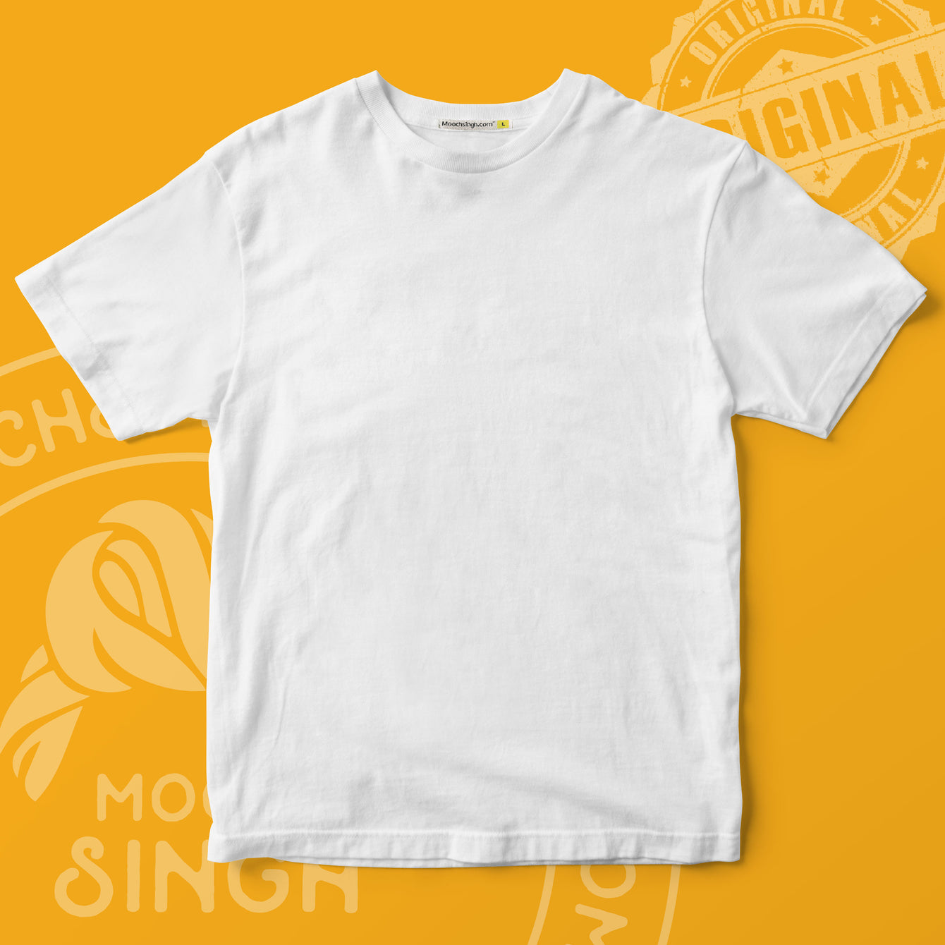 WHITE SOLID ROUND NECK T-SHIRT BY HOUSE OF MOOCHSINGH.COM