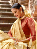 Tissue Silk Saree - Gold (with 2 blouses)