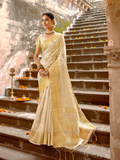 Tissue Silk Saree - Cream Gold (with 2 blouses)