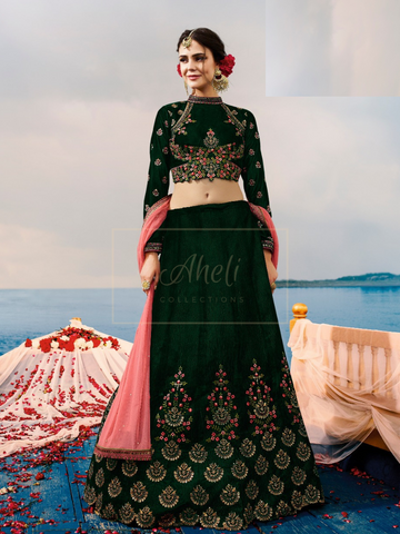 Bottle Green Velvet Lehenga
