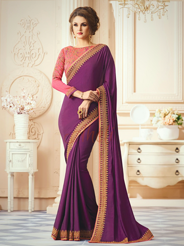 Purple Saree with Pink Blouse