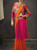Pink and Orange Heavy Blouse Saree