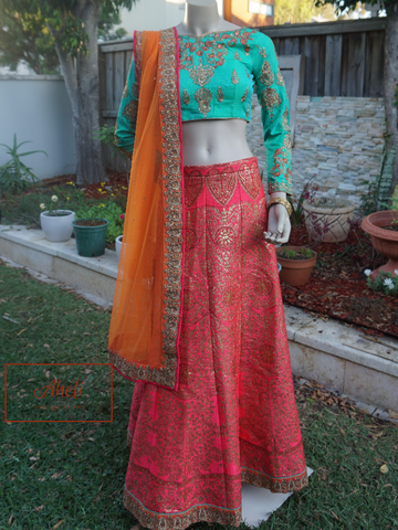 Blue and Magenta Lehenga
