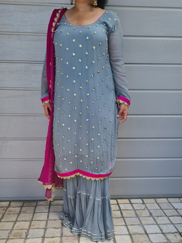 Grey and Magenta Sharara