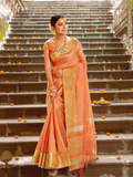 Tissue Silk Saree - Light Rust (with 2 blouses)