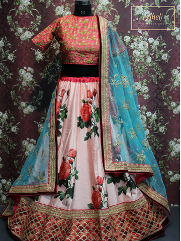 Pink Floral Lehenga with Blue Dupatta
