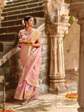 Tissue Silk Saree - Pink (with 2 blouses)