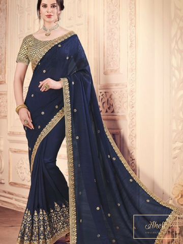 Navy Saree with Gold Blouse