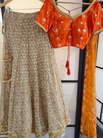 Green Velvet and Orange Lehenga