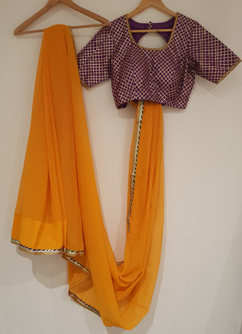 Mustard Georgette Saree with Gotapatti Blouse