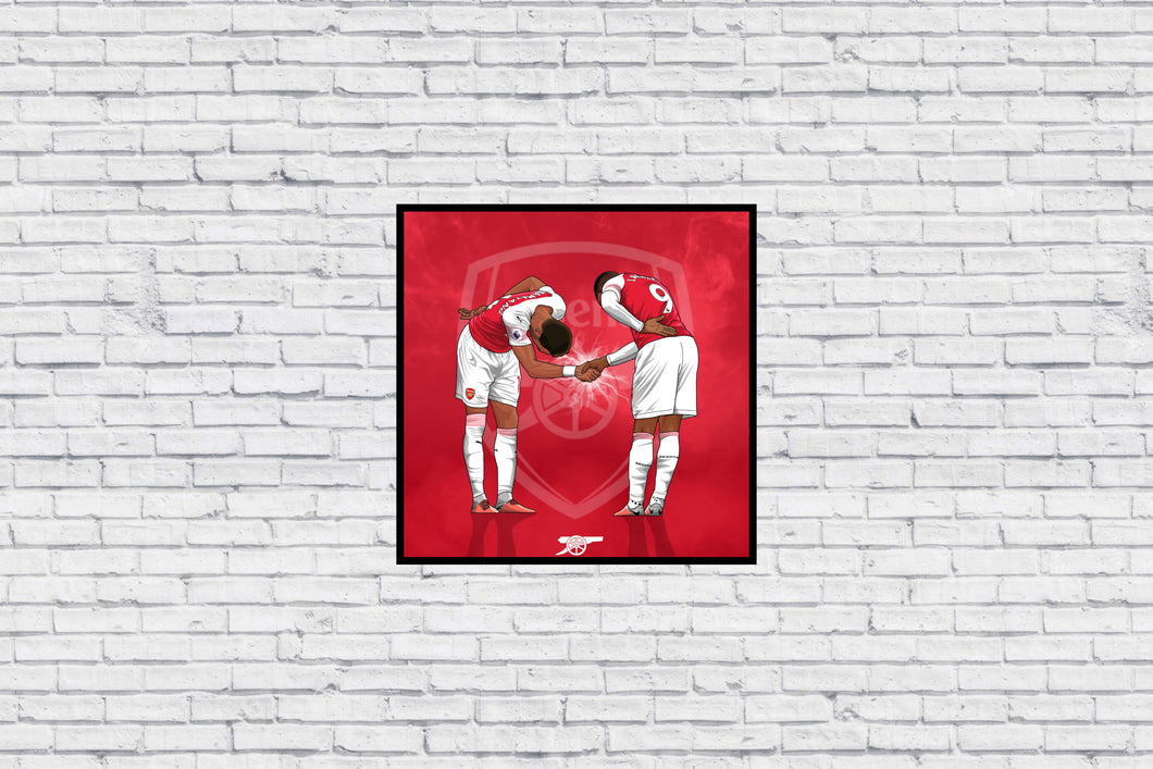 Arsenal Aubameyang x Lacazette Handshake Celebration in Wall Print