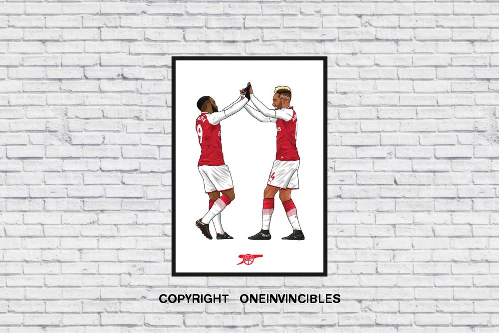 Arsenal Aubameyang X Lacazette Hi5 Celebration In Wall Print A4