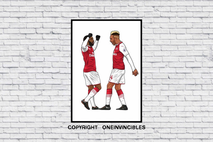 Arsenal Aubameyang X Lacazette In Wall Print A3