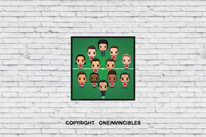 Arsenal Chibis With Unai Emery In Wall Print 20 X