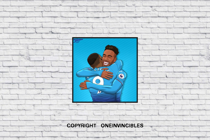 Brothers Hug In Blue Wall Print 20 X