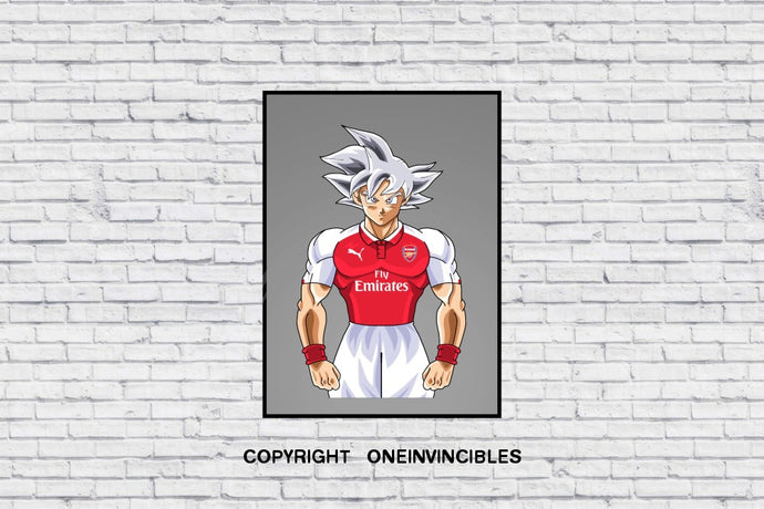 Goku Silver Background In Wall Print