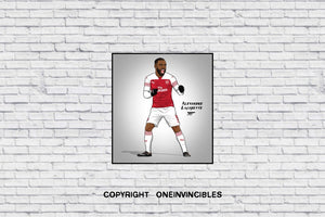 Lacazette 2018/19 Kit In Wall Print 20 X / White