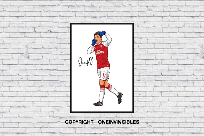 Mesut Ozil Celebration With Signature In Wall Print A4