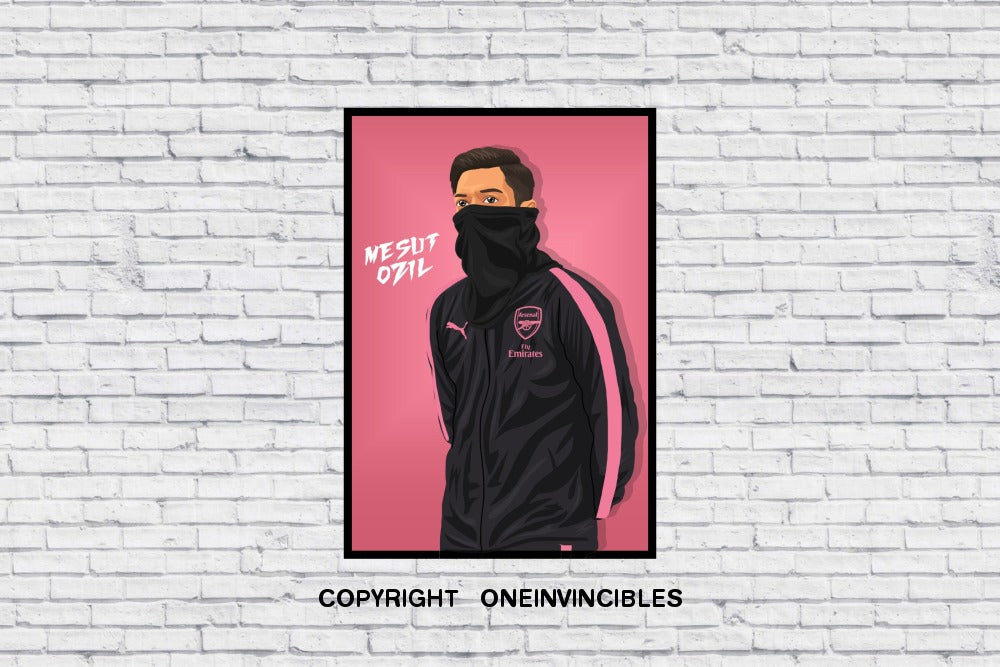 Mesut Ozil Scarf In Pink Wall Print A4