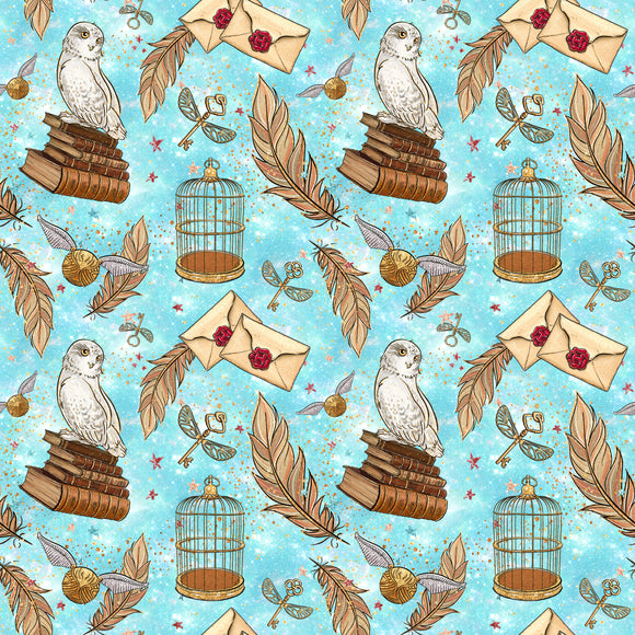 Wizard - Owls and Feathers Turquoise