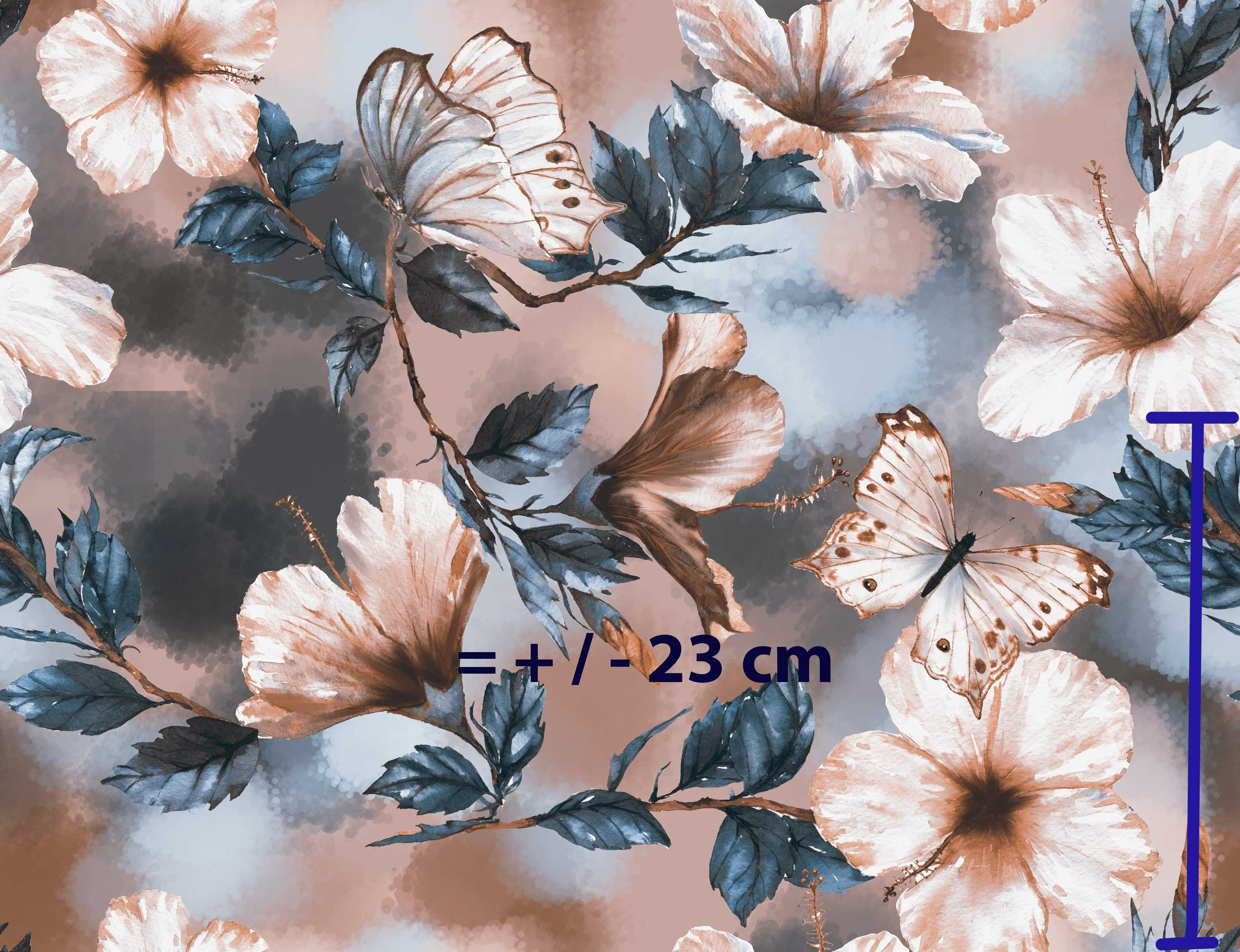 Hibiscus and butterflies (beige) - large scale - Jersey Knit