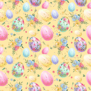 Easter - Easter Eggs On Yellow - Jersey Knit