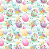 Easter - Easter Eggs On Stripes - Jersey Knit