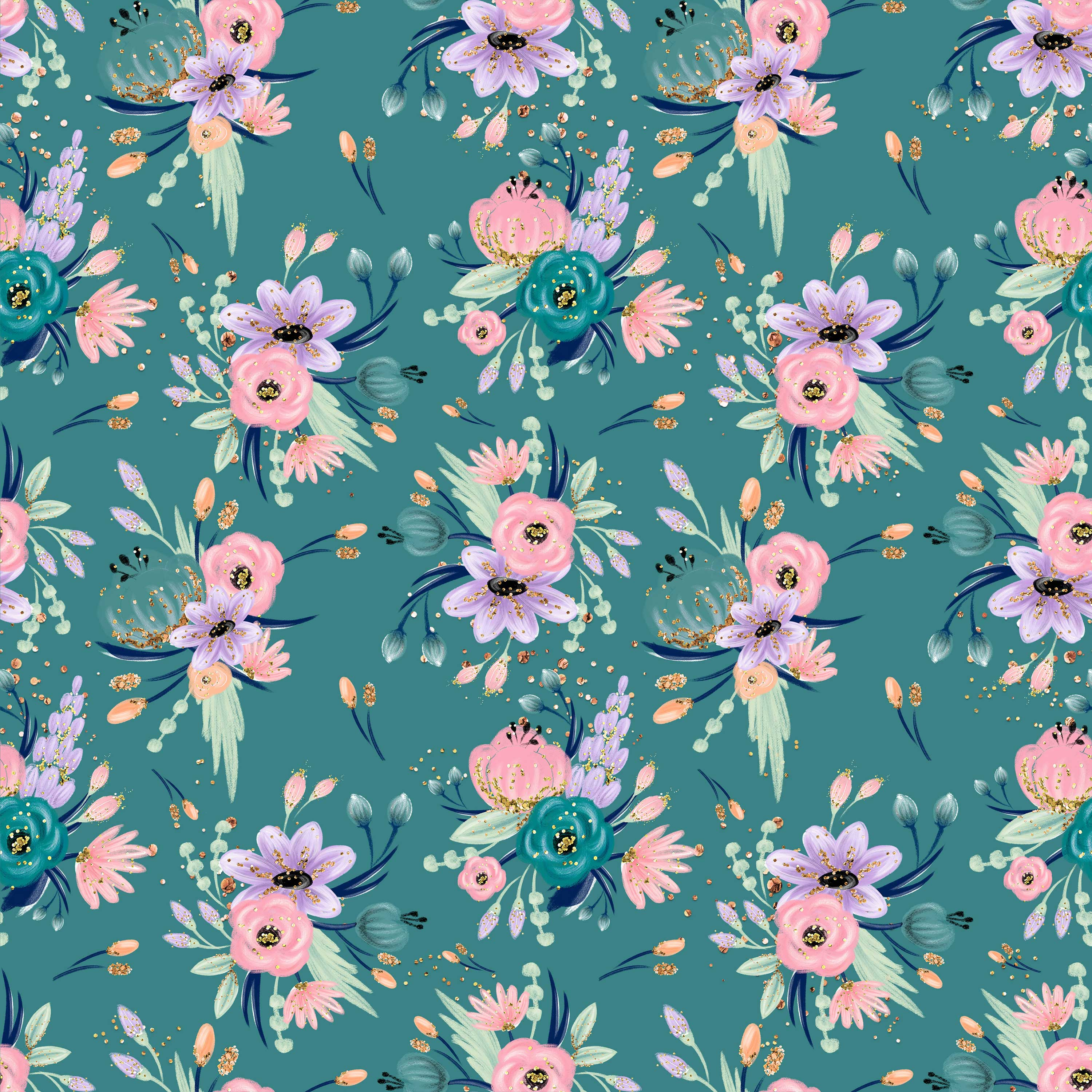 Pastel Flowers on Turquoise  - Jersey Knit
