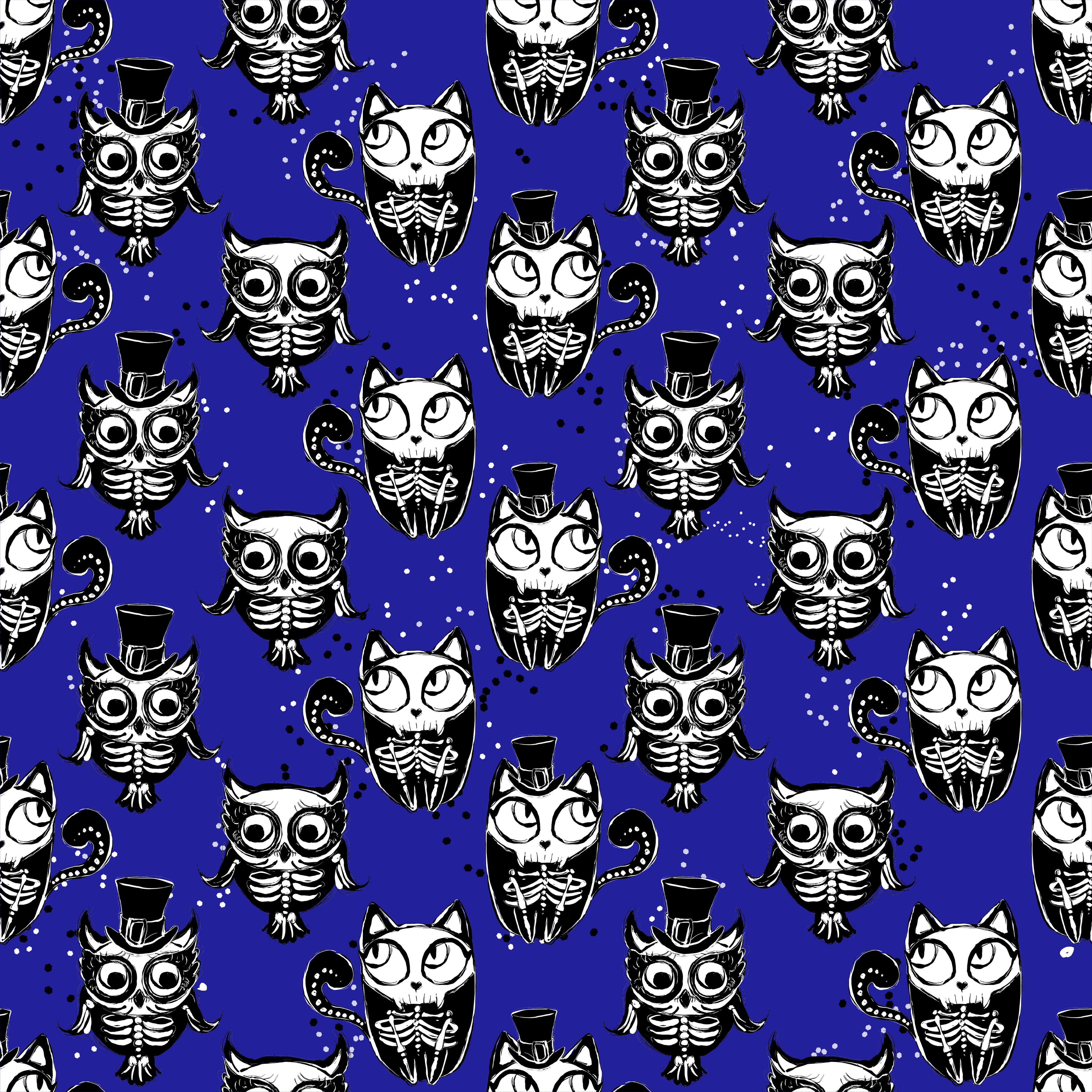 Goth - Animals on Blue - Jersey Knit