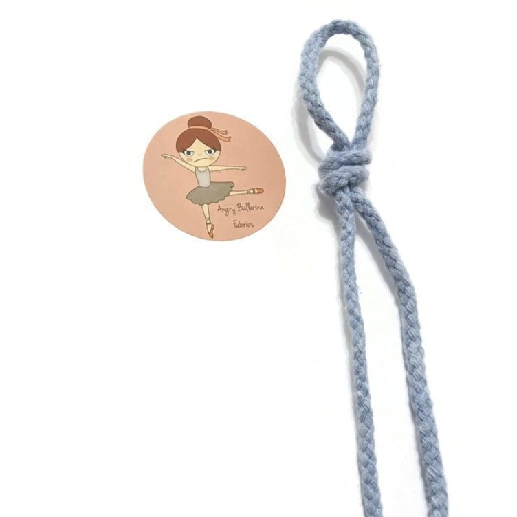 7mm Round Drawstring Cord - Baby Blue