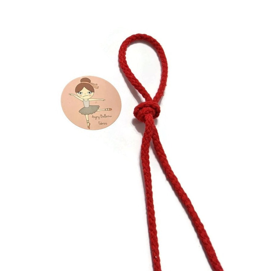 7mm Round Drawstring Cord- Red