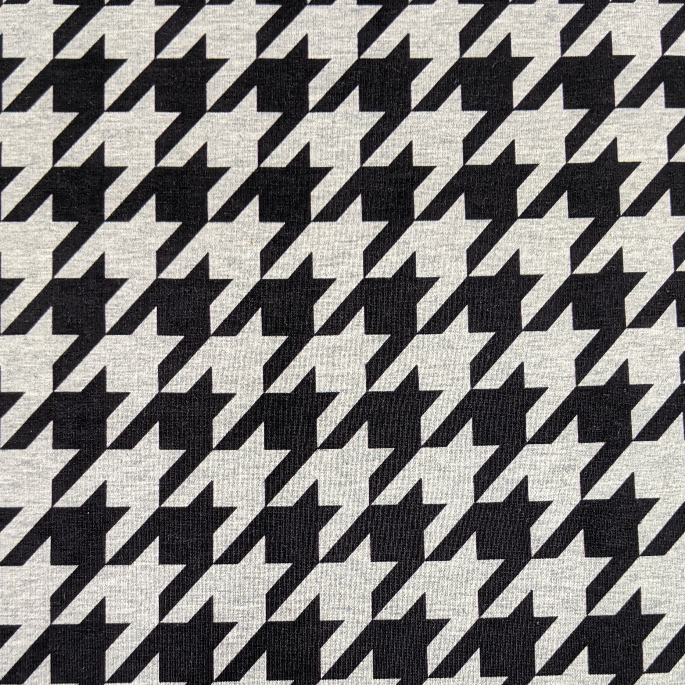 Houndstooth - Large Scale on Heather Gray  - Jersey Knit