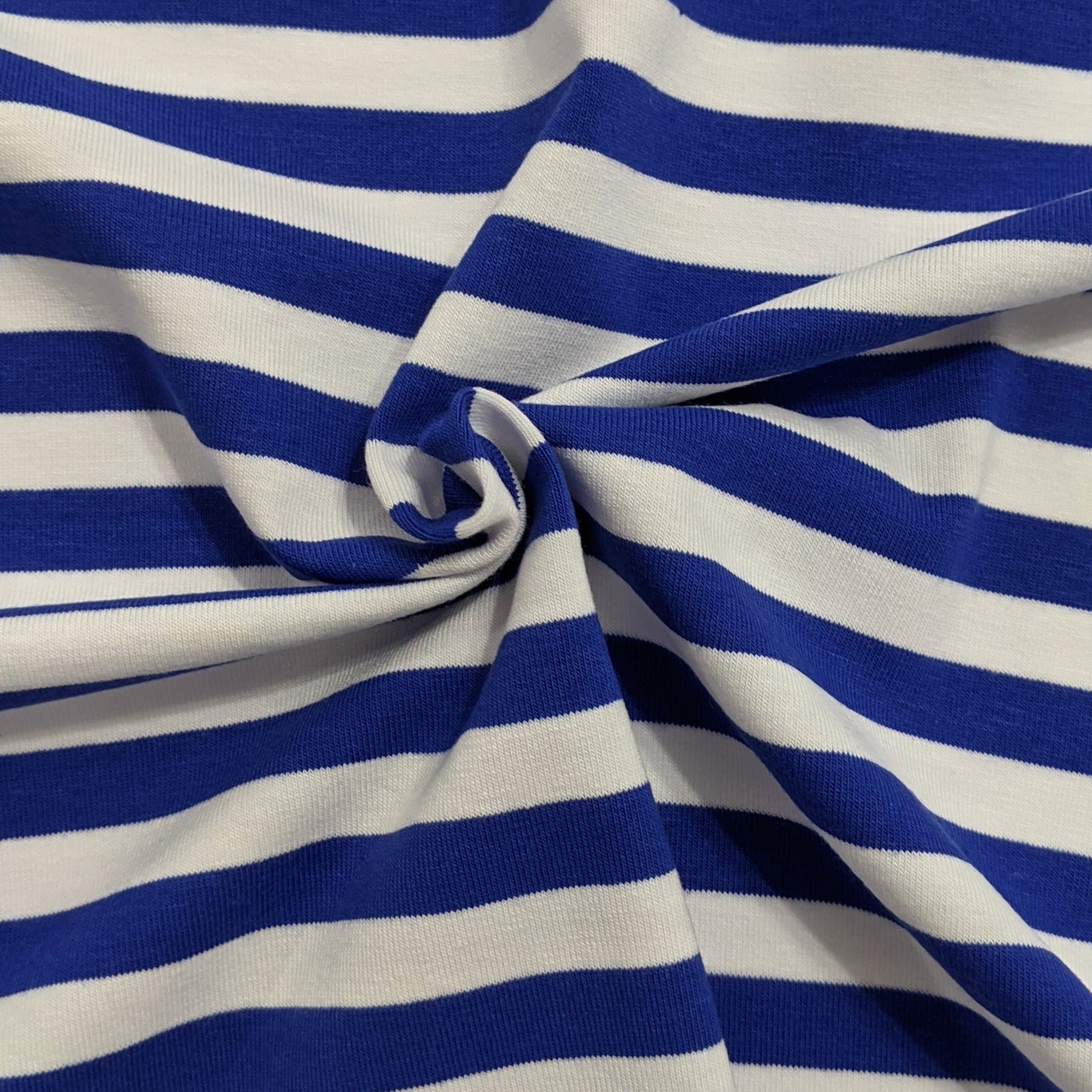 White and Royal Blue Stripes - Jersey Knit