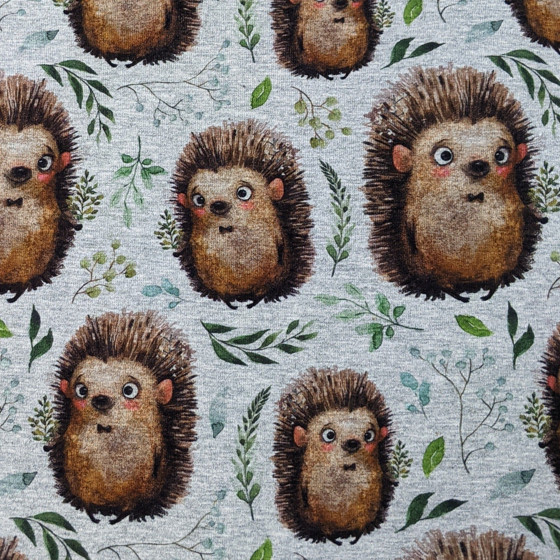 Adorable Hedgehog on Gray - Jersey Knit