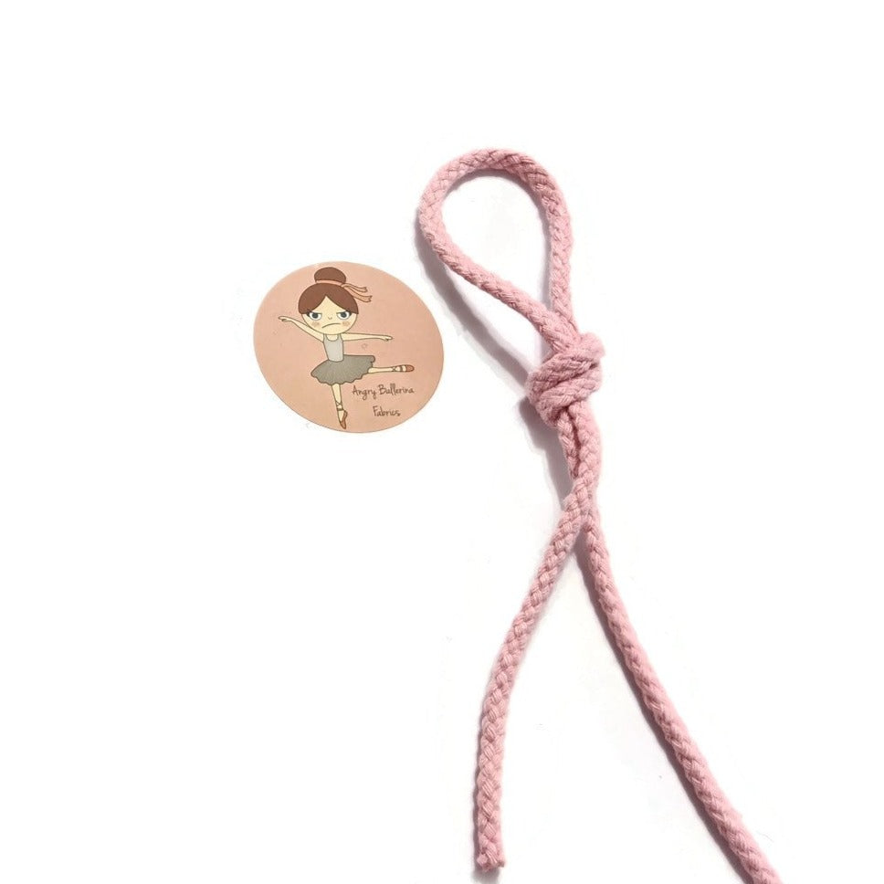 7mm Round Drawstring Cord - Baby Pink