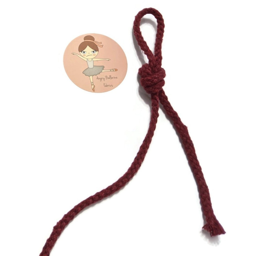 7mm Round Drawstring Cord- Burgundy