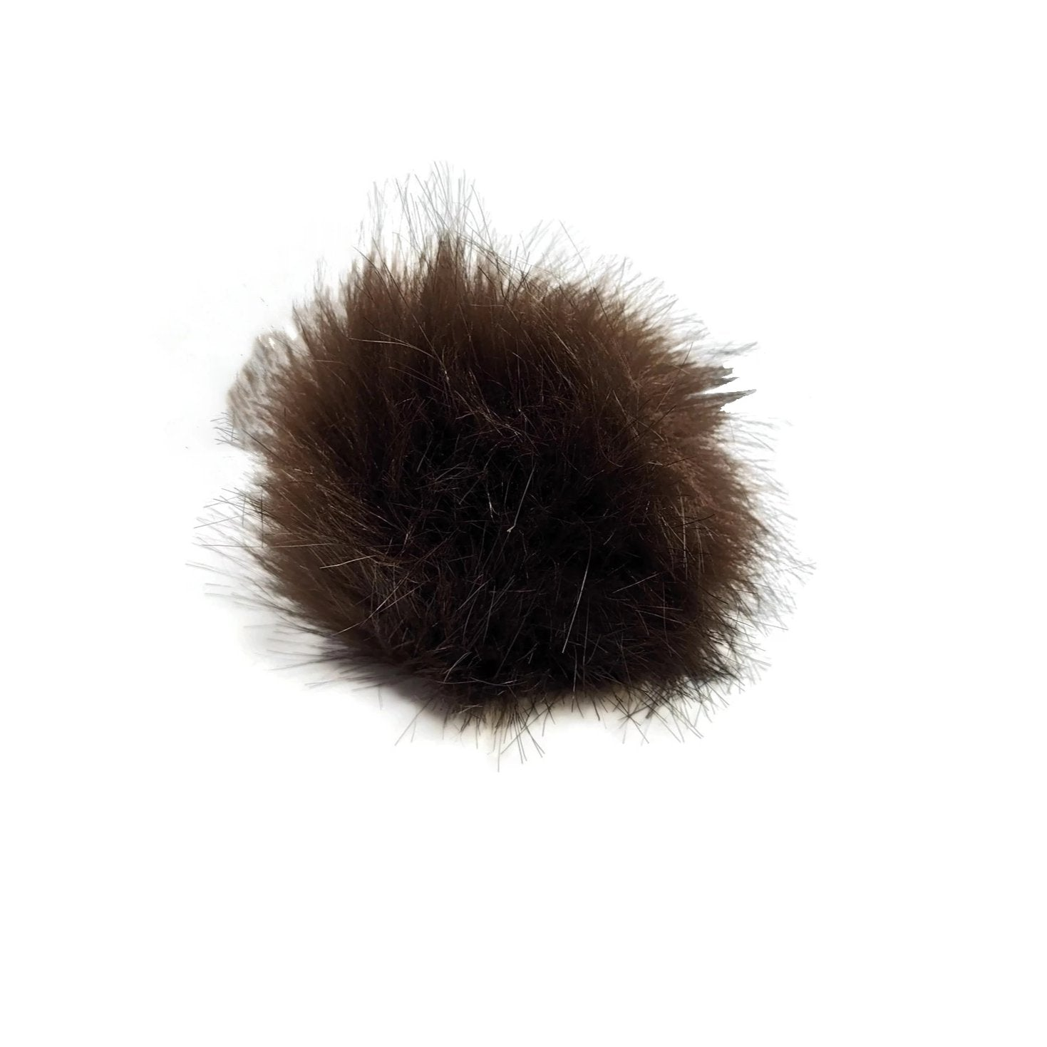 Brown pom-pom with snaps (fake fox fur)