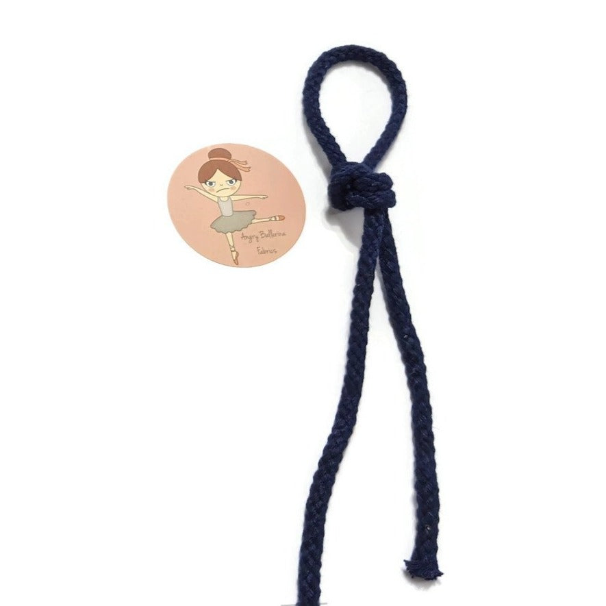 7mm Round Drawstring Cord- Navy