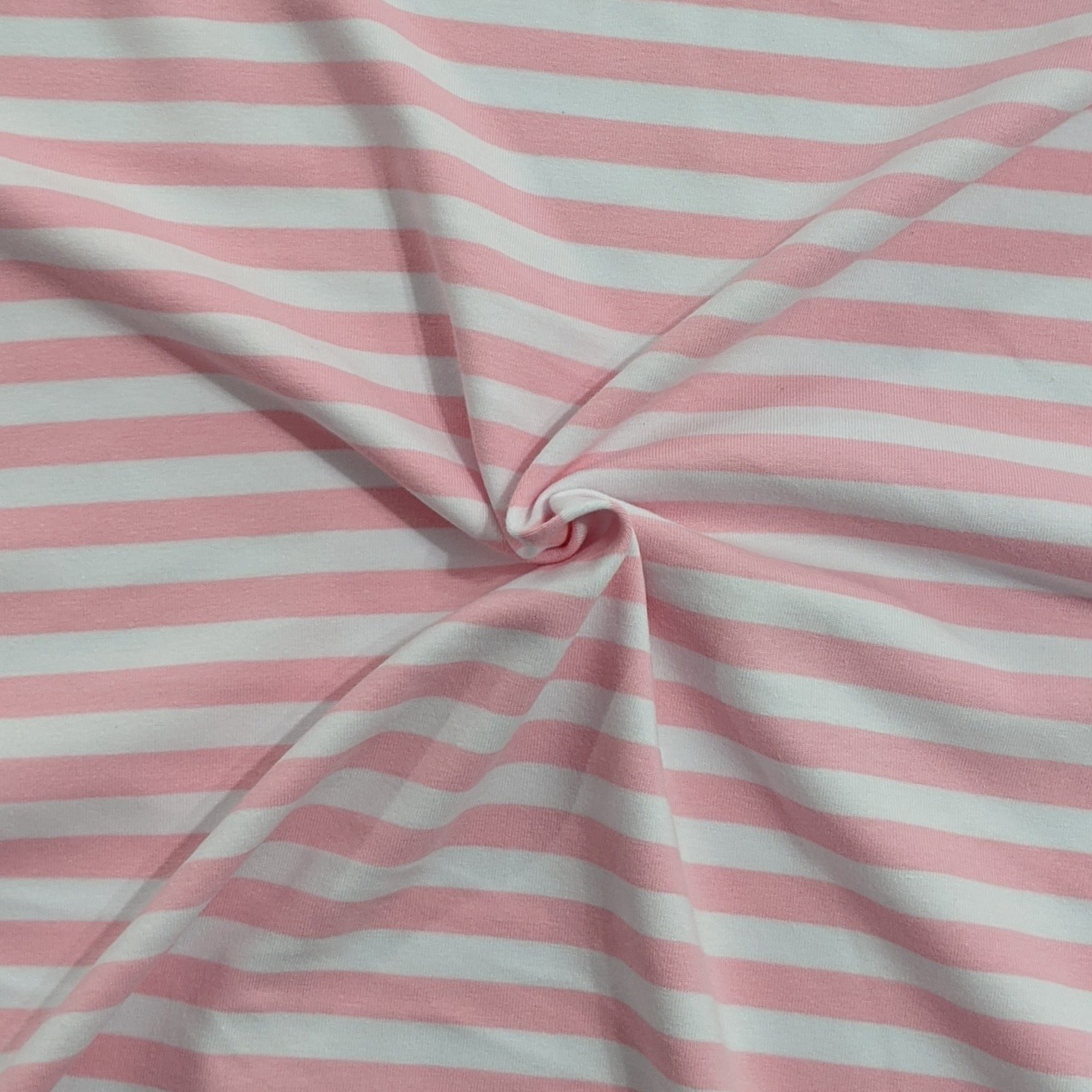 White and Bright Pink Stripes - Jersey Knit